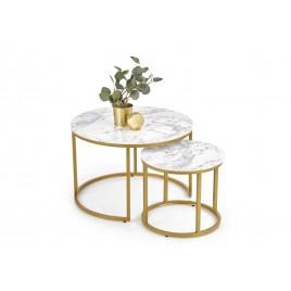 Table basse gigogne ronde effet marbre et doré
