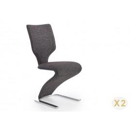 Lot de 2 chaises tissu et simili cuir noir gris