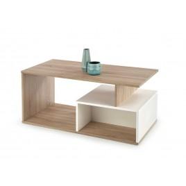 Table basse rectangulaire chêne sonoma et blanc