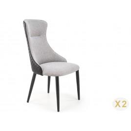 Lot de 2 chaises rembourrées tissu gris et simili noir