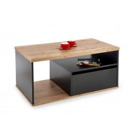 Table basse de salon rectangulaire avec tiroir noir et chêne wotan