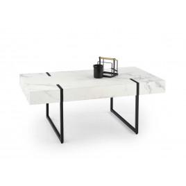 Table basse rectangulaire effet marbre blanc