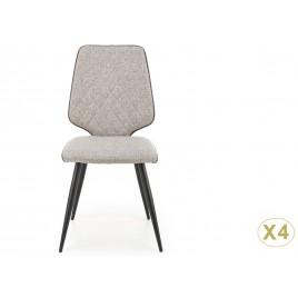 Lot de 4 chaises tissu gris et simili noir