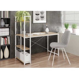 Bureau blanc avec étagères style industriel