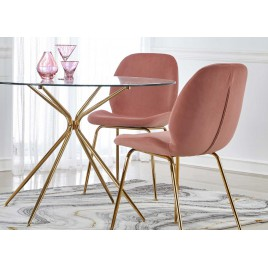 Table ronde de salle à manger en verre et pieds doré