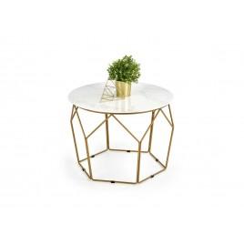 Table d'appoint 60 cm effet marbre et pied doré