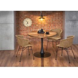 Table de salle à manger ronde couleur noyer