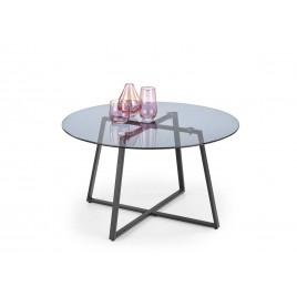 Table basse design plateau rond en verre fumé 80 cm