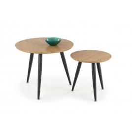 Lot 2 tables d'appoint couleur chêne doré et noir