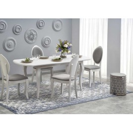 Table de repas extensible blanche 150-190 cm