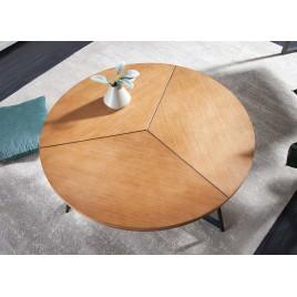 Table basse ronde chêne naturel et pied métal noir