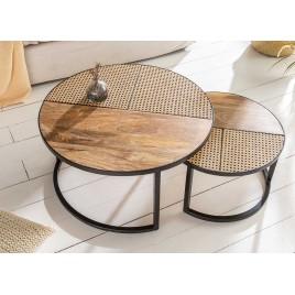 Lot de 2 tables basses rondes bois de manguier et rotin
