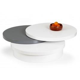 Table basse ronde plateaux pivotants gris et blanc laqué