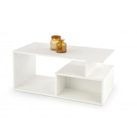 Table basse rectangulaire blanche avec niche de rangement
