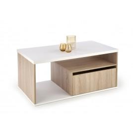 Table basse pas cher 110 cm chêne sonoma et blanc