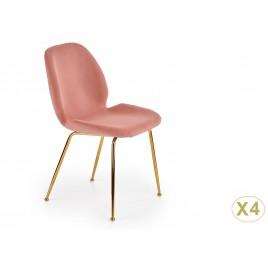 Lot de 4 chaises en tissu rose clair et pied doré
