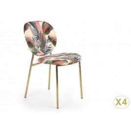 Lot de 4 chaises tissu style tropical