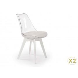 Lot de 2 chaises transparentes et simili cuir