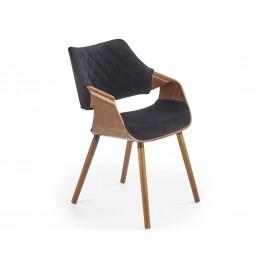 Chaise en bois et tissu noyer et noir