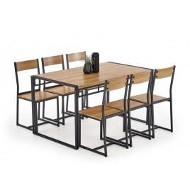 Table de salle à manger avec 6 chaises couleur chêne doré