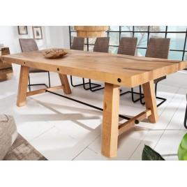 Table à manger en bois de pin 2m design industriel