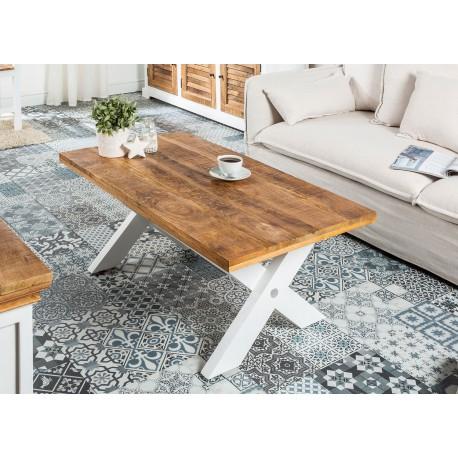 Table basse style campagne chic bois massif de manguier