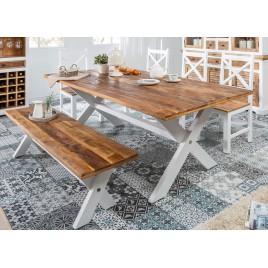 Table de salle à manger campagne chic en bois massif
