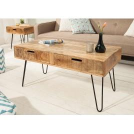 Table basse 1m bois massif de manguier & pied épingle
