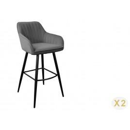 Lot de 2 chaises de bar velours gris argent
