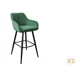 Lot de 2 chaises de bar velours vert émeraude