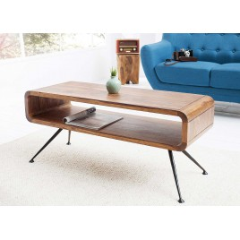 Table basse style rétro bois massif sesham 100 cm