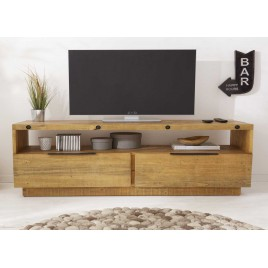 Meuble TV en bois de pin recyclé avec rangements