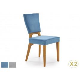 Chaises design tissu velours et 4 pieds en bois massif