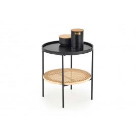 Table d'appoint noir et rotin naturel