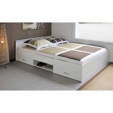 lit combin 140x200 cm blanc 2 tiroirs et 1 niche basic cbc meubles. Black Bedroom Furniture Sets. Home Design Ideas