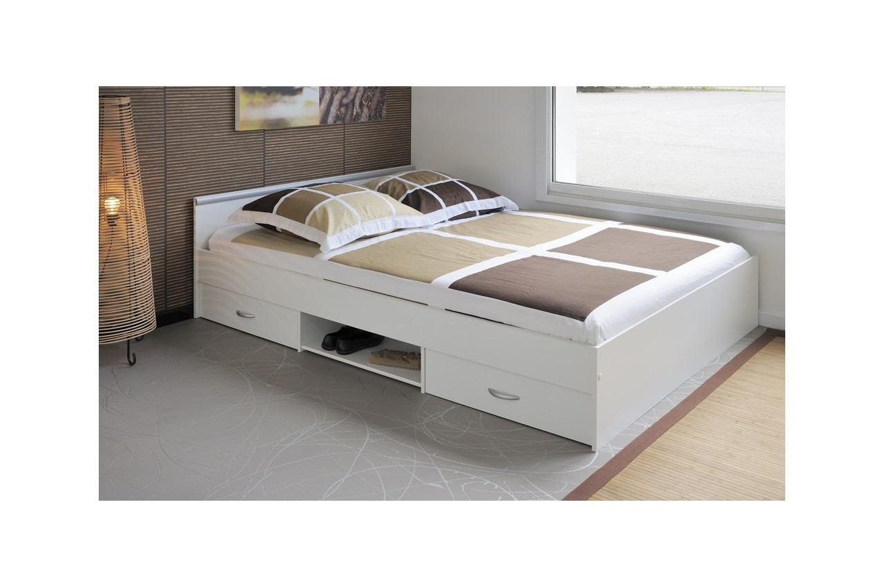 lit 2 couchages blanc 140x200 t te de lit 2 tiroirs et 1 niche cbc meubles. Black Bedroom Furniture Sets. Home Design Ideas