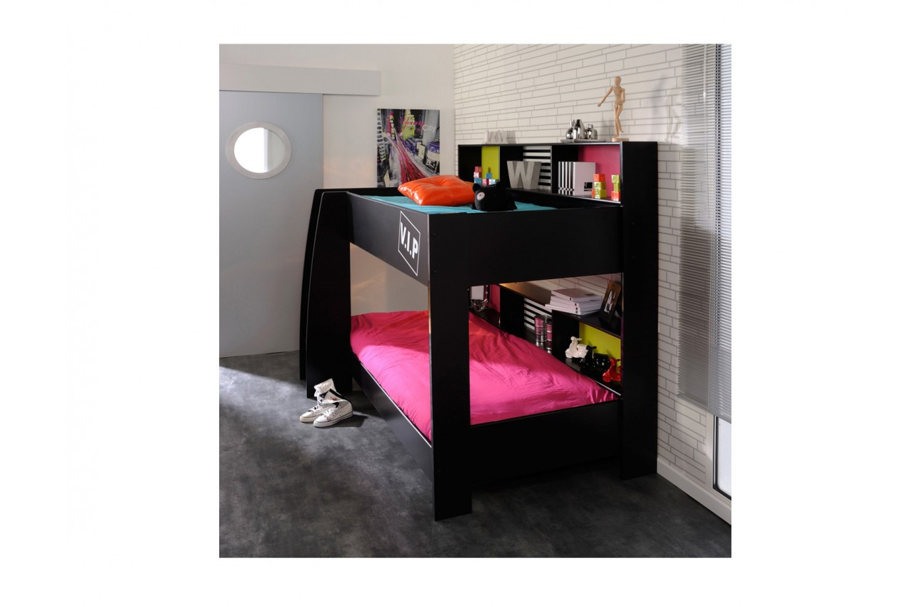 lit superpos noir 90x200 espaces de rangements personnalisables cbc meubles. Black Bedroom Furniture Sets. Home Design Ideas