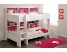 Lit Superposé Blanc 90 x 200- fond réversible bleu ou rose