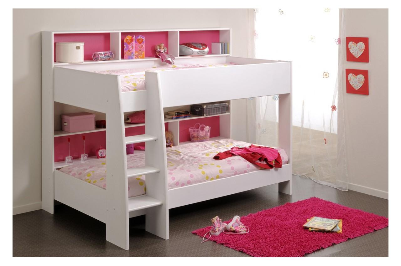 Lit superpos blanc 90 x 200 fond r versible bleu ou rose cbc meubles - Lit superpose garcon ...