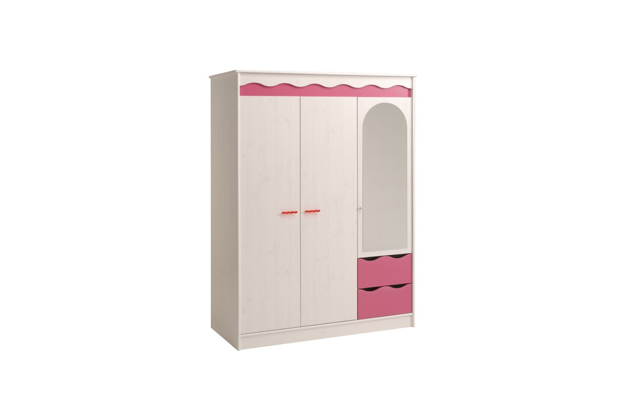 armoire pin lasur framboise 3 portes 2 tiroirs 1 miroir cbc meubles. Black Bedroom Furniture Sets. Home Design Ideas