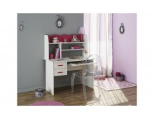 Mobilier enfants bureau 2 tiroirs pin lasuré et framboise