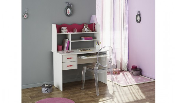 mobilier enfants bureau 2 tiroirs pin lasur et framboise cbc meubles. Black Bedroom Furniture Sets. Home Design Ideas