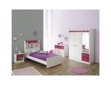 Chambre à Coucher bois- pin lasuré- framboise- 4 éléments