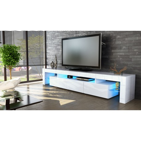 Meuble TV hi-fi design blanc 189 cm IRIO