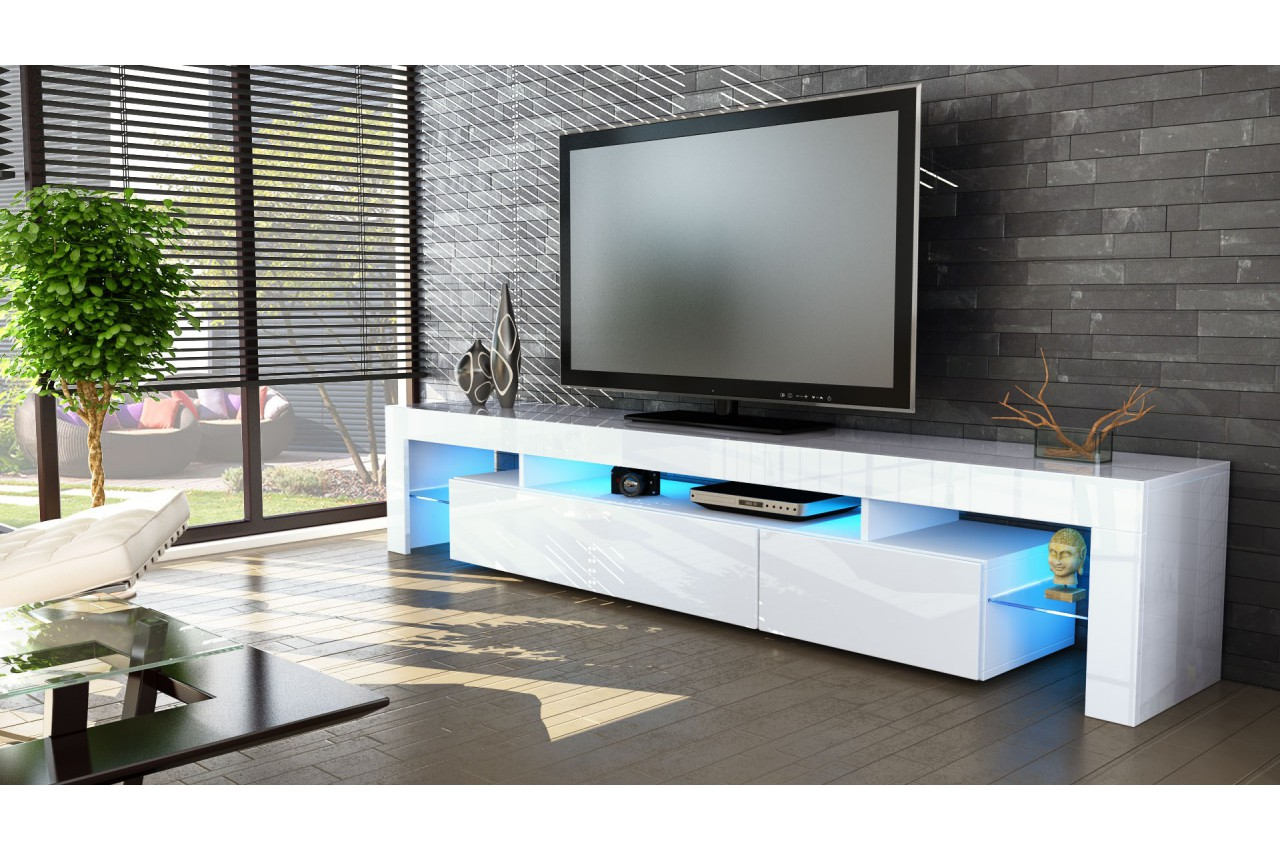 Meuble tv hi fi design blanc 189 cm irio cbc meubles - Presentateur maison france 5 ...
