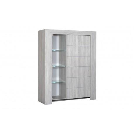 Bahut/Buffet Haut 130x162 cm- 1 porte en chêne- 1 porte vitrée