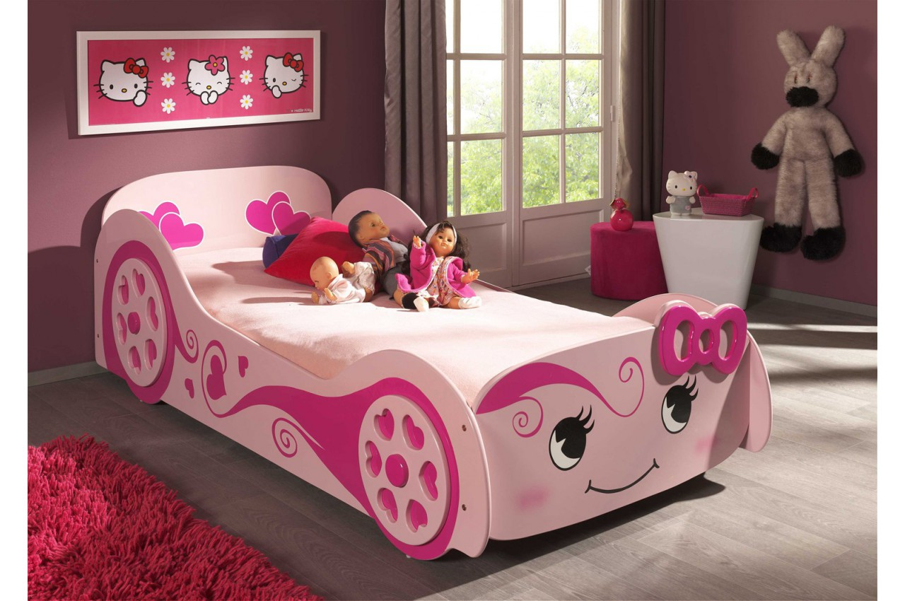 lit voiture design rose 90x200 cm funny cbc meubles. Black Bedroom Furniture Sets. Home Design Ideas