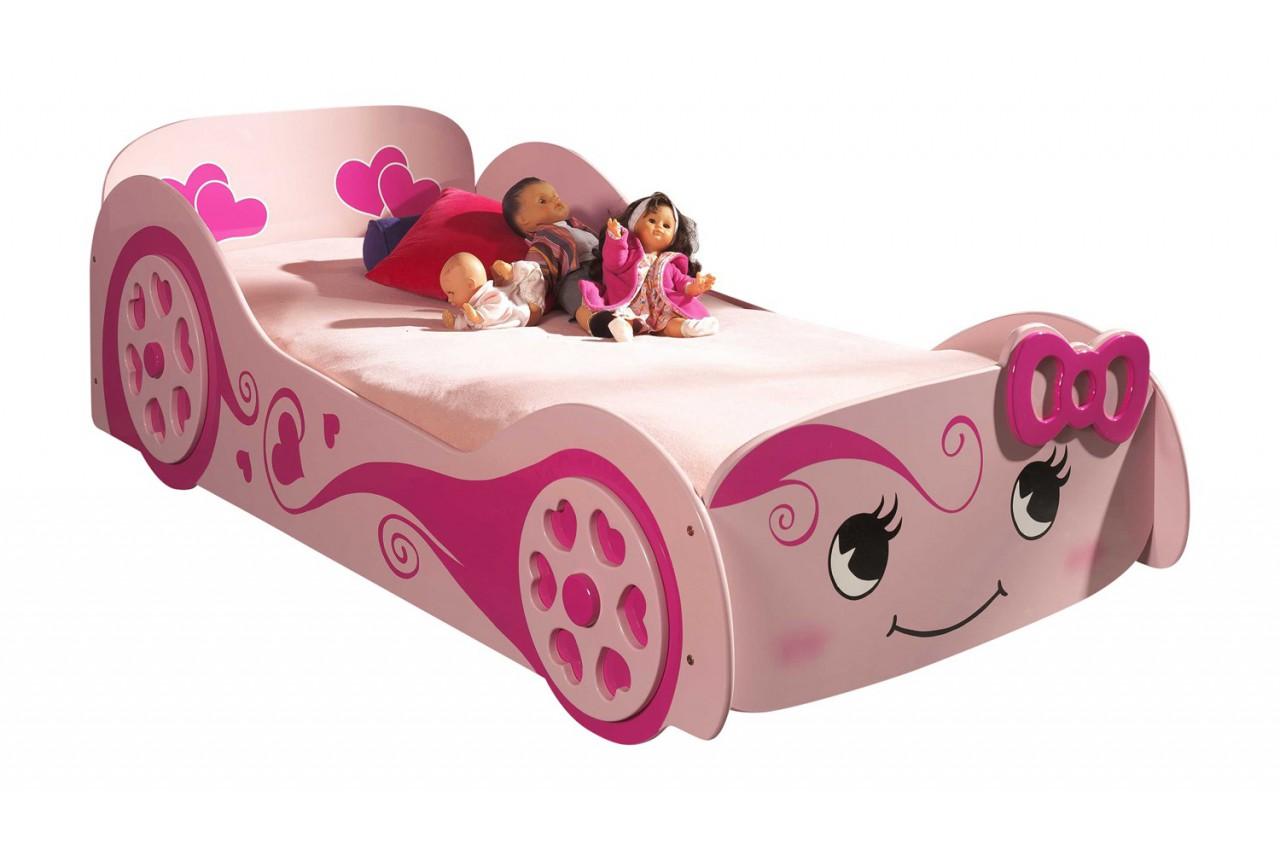lit voiture design rose 90x200 cm sommier inclus matelas. Black Bedroom Furniture Sets. Home Design Ideas