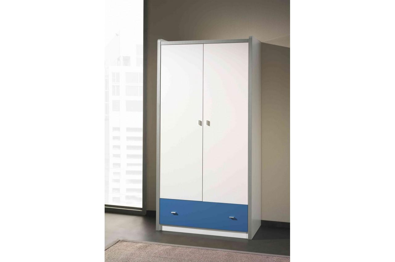 armoire de rangement blanche 2 portes 1 tiroir 7 coloris au choix cbc meubles. Black Bedroom Furniture Sets. Home Design Ideas