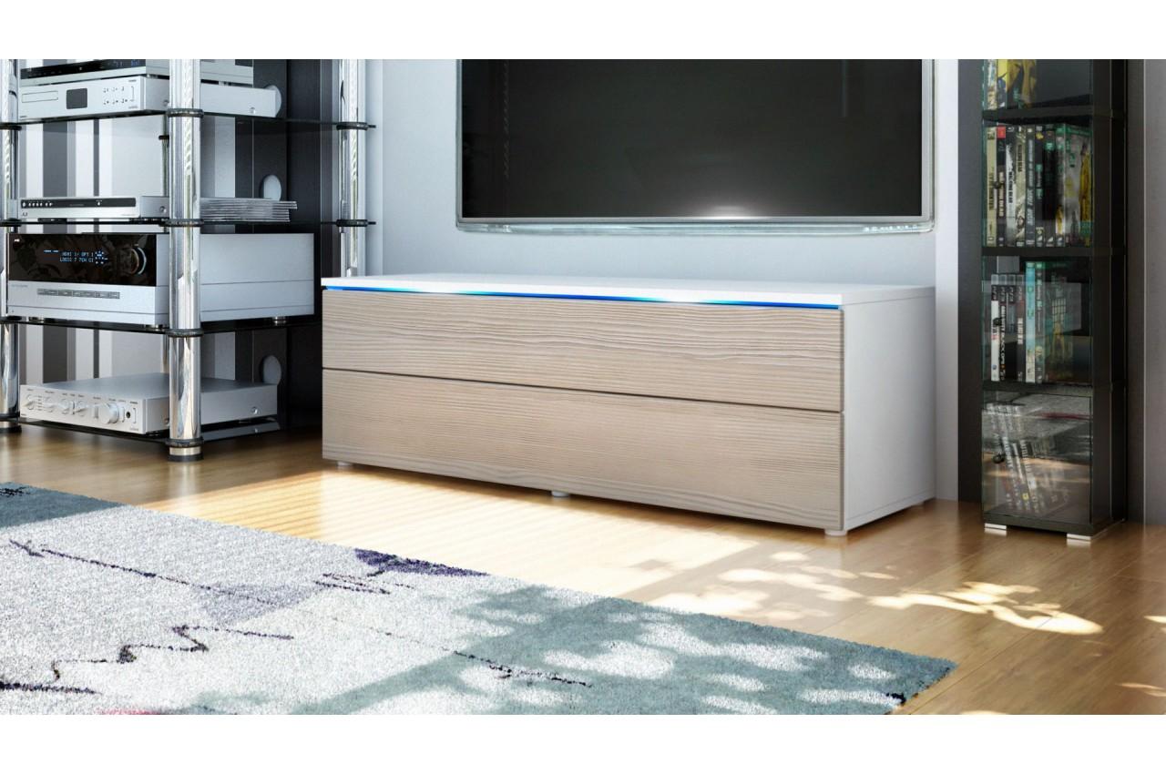 Meuble tv design 2 tiroirs laqu ou bois cbc meubles for Laque meuble bois